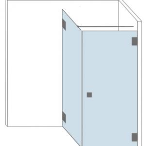 Tekening van glazen douchewand in een hoek met een vast paneel. Type Orange