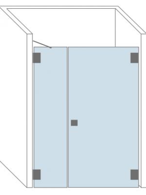 Tekening glazen douchedeur met zijpaneel. Type Toulouse