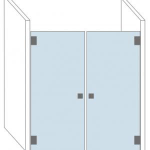 Douchecabine van glas met een dubbele deur. Type Avignon