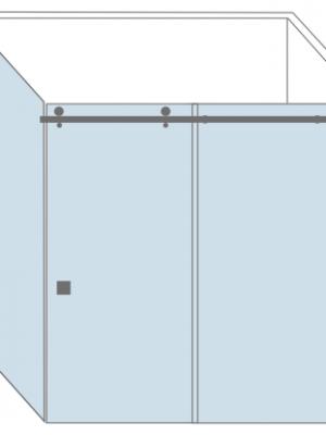 tekening glazen schuifdeur voor douchecabine. Type Cannes