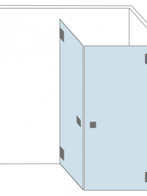 Douchecabine hoek - twee openslaande glazen deuren - type Lyon